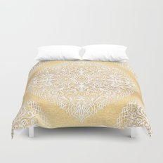 White Gouache Doodle on Gold Paint Duvet Cover