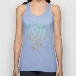 Desert Cactus Dreamcatcher Turquoise Coral Gradient on White Unisex Tank Top