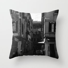 Calle Marcello b&w Throw Pillow