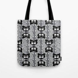 Black Cat Pattern On Gray Tote Bag