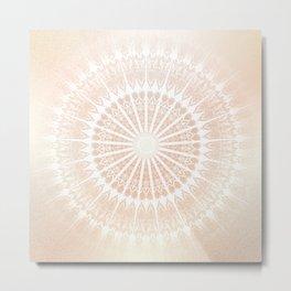 Beige Gold  Glittering Mandala Metal Print