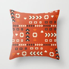 American native shapes in red Throw Pillow