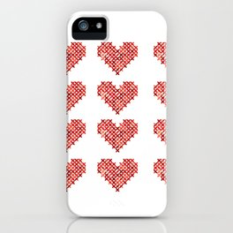 Cross Stitched Hearts iPhone Case