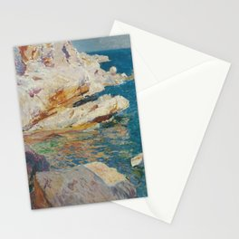 Joaquin Sorolla Y Bastida - Rocks at Javea. The white boat Stationery Cards