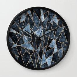 Shattered Soft Dark Blue Wall Clock