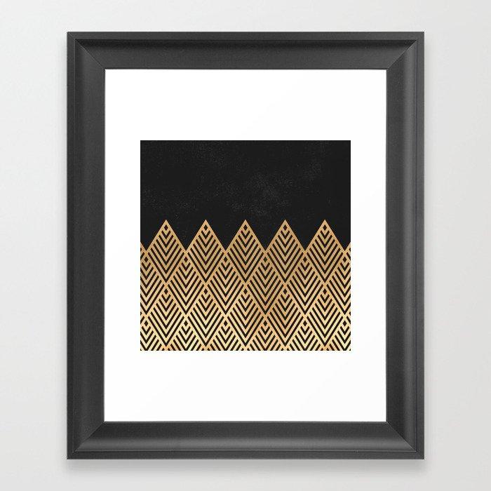 Geometric Black and Gold Gerahmter Kunstdruck