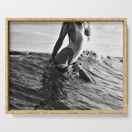Alone at the Beach in Malibu, female form exiting ocean black and white photography Serving Tray