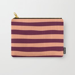 Plum and Peach Stripes Pattern Carry-All Pouch