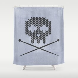 Knitted Skull (Black on Faded Periwinkle) Shower Curtain