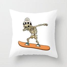 Skeleton Snowboarder Cool Winter Sports Gift Throw Pillow
