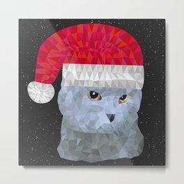 Gray british cat with christmas hat Metal Print
