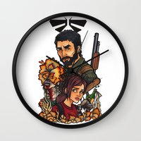 the last of us Wall Clocks featuring The Last of Us by Warbunny