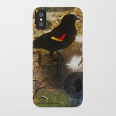 life thru the eyes of a red winged blackbird Slim Case iPhone X