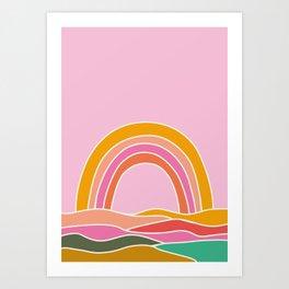 rainbow on pink sky Art Print