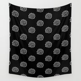 Black and White Sun Pattern Wall Tapestry