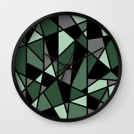 Geometric Pattern in Greens and Black Wall Clock