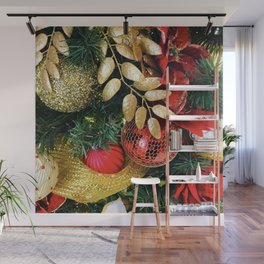 Christmas Tree Decorations in Glitzy Red and Gold Wall Mural