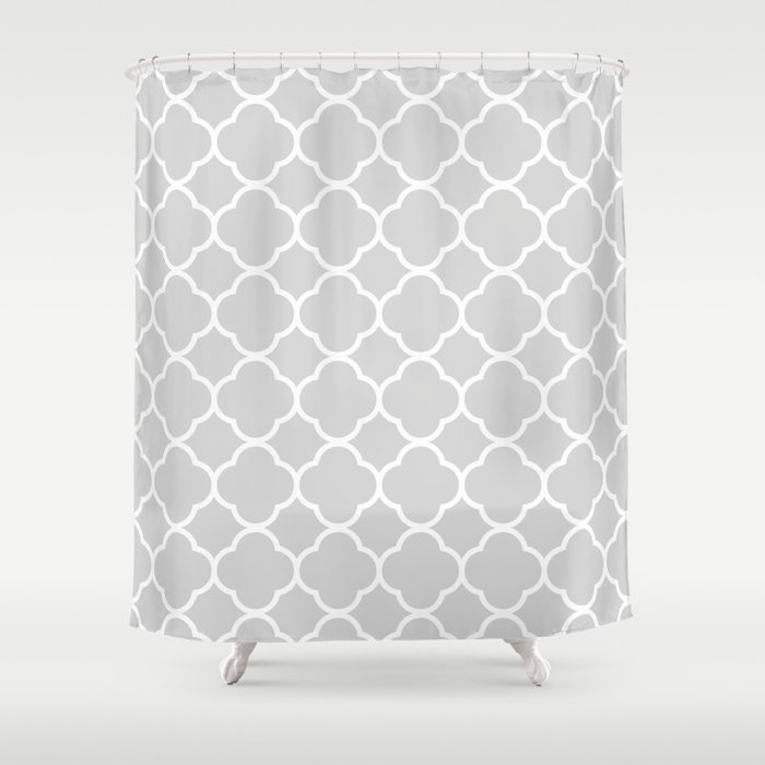 Gray & White Quatrefoil Shower Curtain by vintageappeal623 | Society6