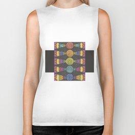 Abstract Geometric Zentangle Drawing with Rainbow Symbols Biker Tank