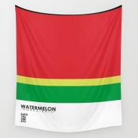 pantone Wall Tapestries featuring Pantone Fruit - Watermelon by Picomodi