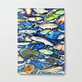 DEEP SALTWATER FISHING COLLAGE Metal Print