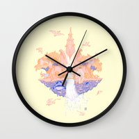 paradise Wall Clocks featuring Paradise by Andrew Henry