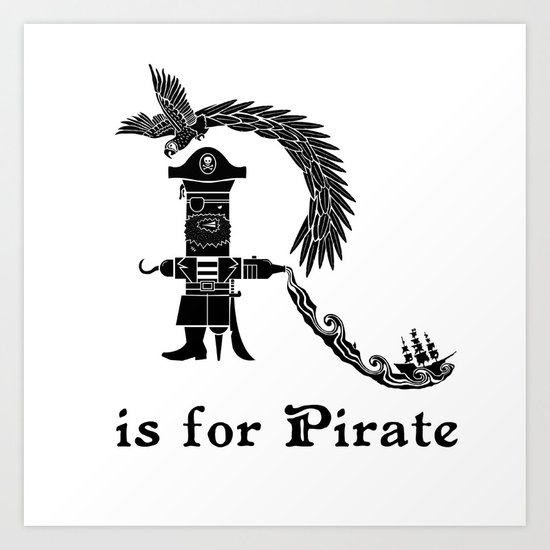 R is for Pirate Art Print