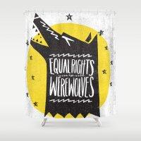 werewolf Shower Curtains featuring WEREWOLF RIGHTS by Matthew Taylor Wilson