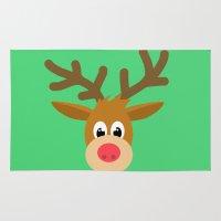 reindeer Area & Throw Rugs featuring reindeer by elvia montemayor