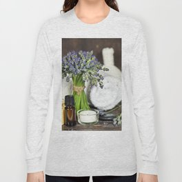 Fresh  lavender flowers, zen stones, essential oil, candle and towel over wooden surface Long Sleeve T-shirt