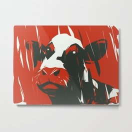 Whimsical cow in red Metal Print