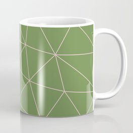 Green Background Triangular Pink Lines Coffee Mug