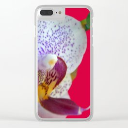 Orchid on Red #2 Clear iPhone Case