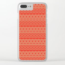 Red and Gold Classic Nordic Christmas Pattern Clear iPhone Case