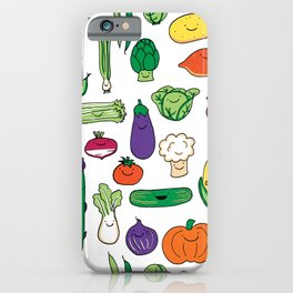 Cute Smiling Happy Veggies on white background iPhone Case