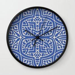Blue & White GeoPattern Wall Clock
