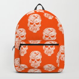 White Human Skulls on Orange Pattern Backpack