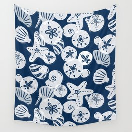 Navy and White Seashells Wall Tapestry