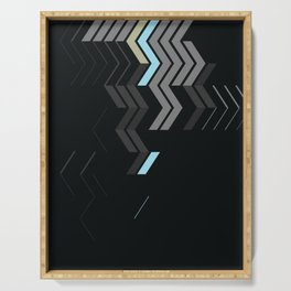 Deconstructed Chevron C – Gray / Gold / Blue Abstract Pattern Serving Tray