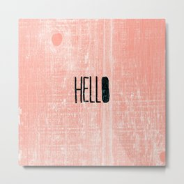 Modern hello coral wood grain pattern Metal Print