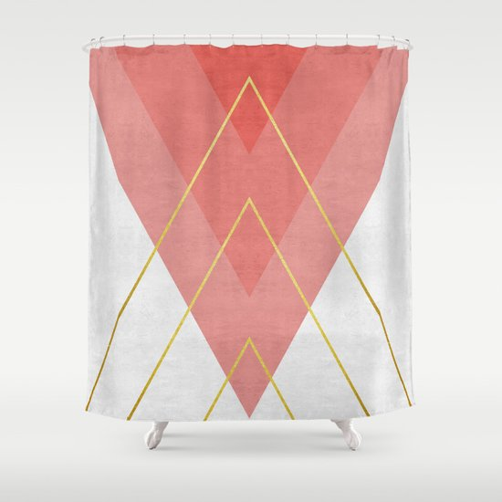 Minimalist Pink And Gold Shower Curtain By The Spirit Of Art Society6