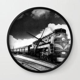 CN Trains pulling Royal Tour cars -Trains du CN tirant les voitures de la tournée royale  Wall Clock