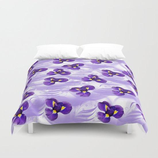 Elegant Floating Irises Abstract Duvet Cover