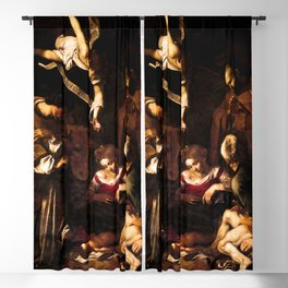 """Michelangelo Merisi da Caravaggio """"Nativity with Saints Lawrence and Francis"""" Blackout Curtain"""