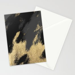 Modern chic gold black gray abstract watercolor Stationery Cards