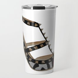 Leopard Valentino Rockstud pumps fashion illustration pink  Travel Mug