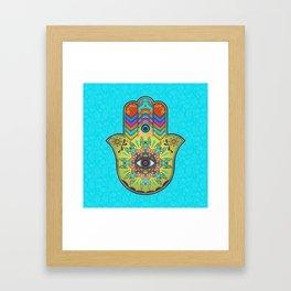 Colorfull  Hamsa Hand with paisley Framed Art Print