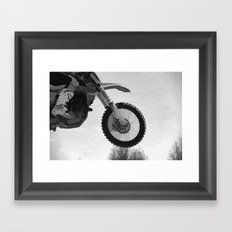 Motocross Dirt-Bike Racer Framed Art Print