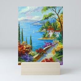 Sunny beach by the sea Mini Art Print