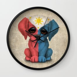 Cute Puppy Dog with flag of The Philippines Wall Clock